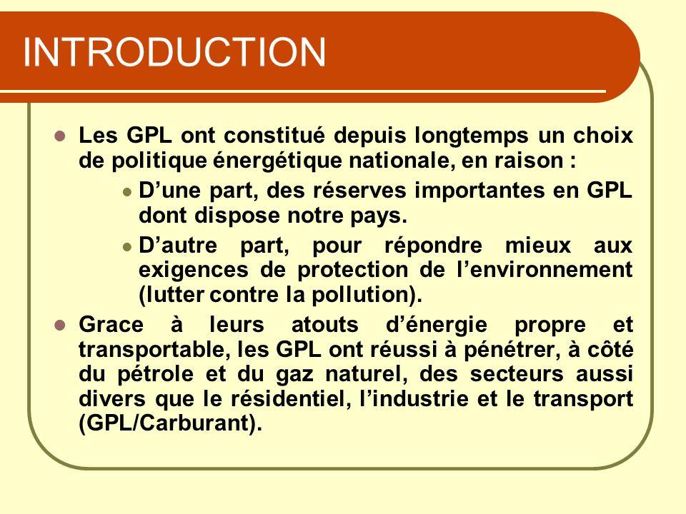 INTRODUCTION Les GPL ont constitué depuis longtemps un choix de politique énergétique nationale, en raison : Dune part, des réserves importantes en GP