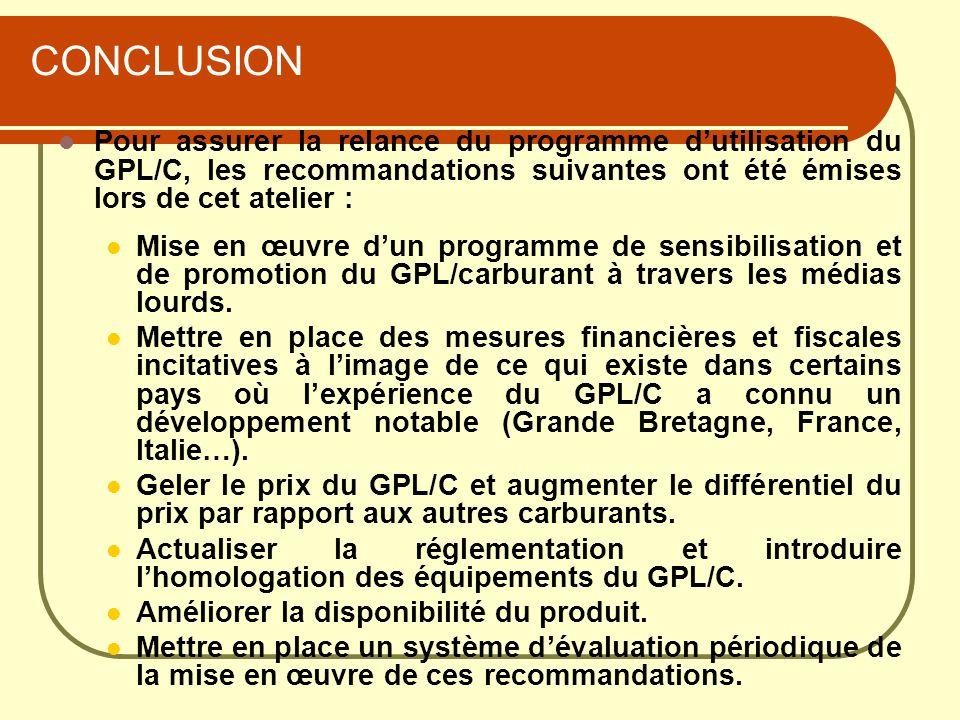 CONCLUSION Pour assurer la relance du programme dutilisation du GPL/C, les recommandations suivantes ont été émises lors de cet atelier : Mise en œuvr