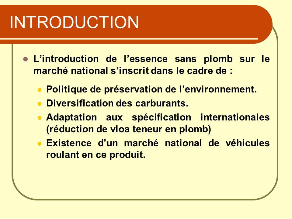 INTRODUCTION Lintroduction de lessence sans plomb sur le marché national sinscrit dans le cadre de : Politique de préservation de lenvironnement. Dive