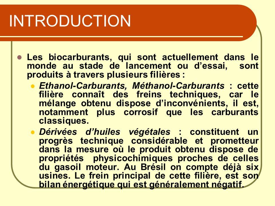 INTRODUCTION Les biocarburants, qui sont actuellement dans le monde au stade de lancement ou dessai, sont produits à travers plusieurs filières : Etha