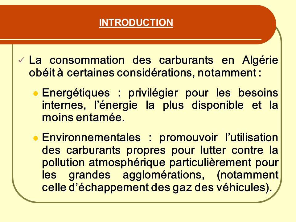 INTRODUCTION La consommation des carburants en Algérie obéit à certaines considérations, notamment : La consommation des carburants en Algérie obéit à