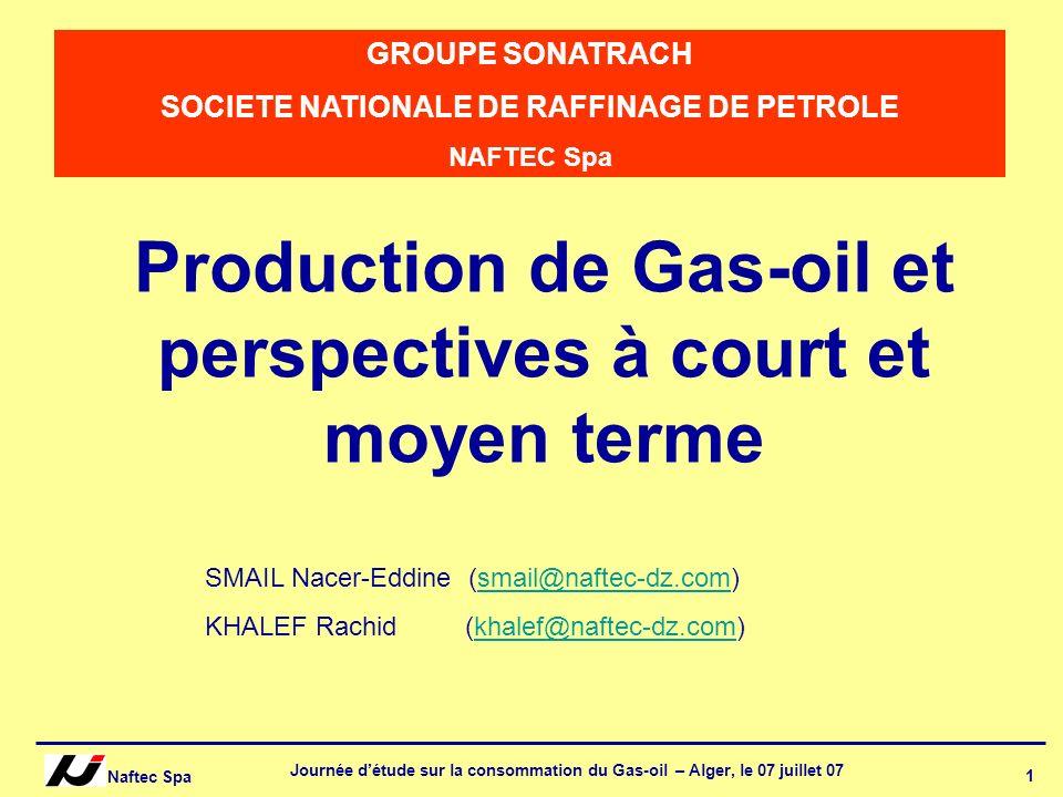 Naftec Spa Journée détude sur la consommation du Gas-oil – Alger, le 07 juillet 07 12 Perspective de production du Gas-oil à court terme