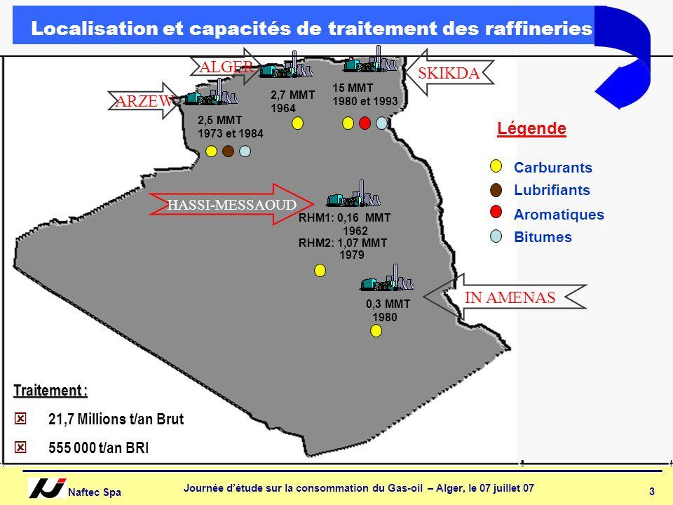 Naftec Spa Journée détude sur la consommation du Gas-oil – Alger, le 07 juillet 07 4 RAFFINERIE DE SKIKDA Localisation: Est de l Algérie Unités: 02 Topping : 7.5 millions T/an chacun.