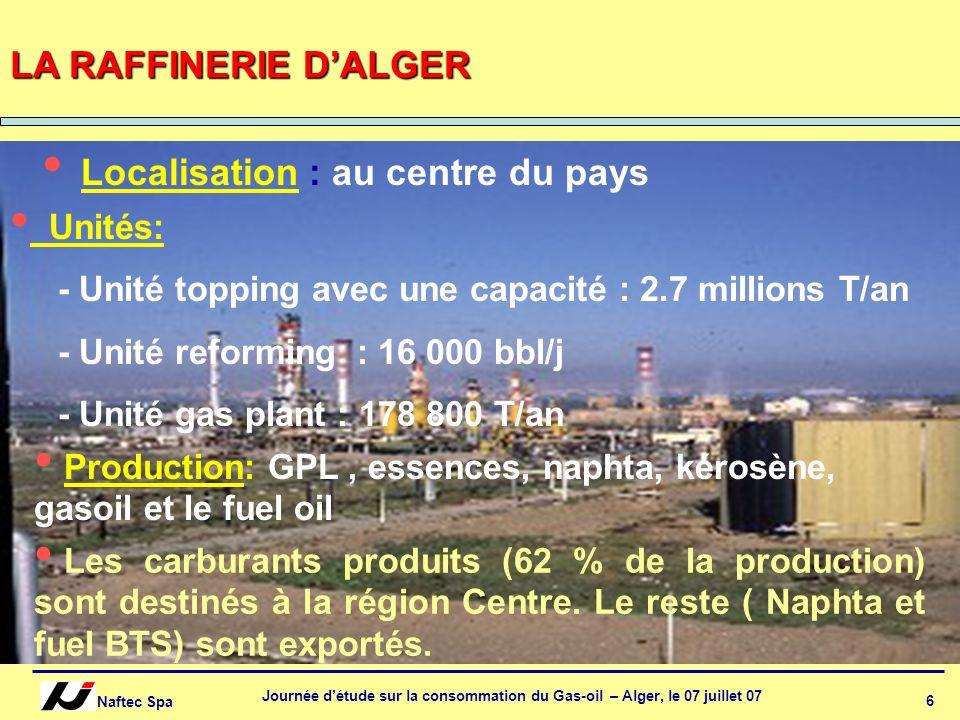 Naftec Spa Journée détude sur la consommation du Gas-oil – Alger, le 07 juillet 07 6 Localisation : au centre du pays LA RAFFINERIE DALGER Unités: - U