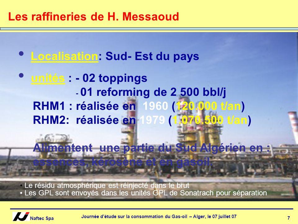 Naftec Spa Journée détude sur la consommation du Gas-oil – Alger, le 07 juillet 07 8 Qualité moyenne du brut Algérien Caractéristiques Brut actuel Densité TVR bar Soufre ppm 0.8025 0.650 850