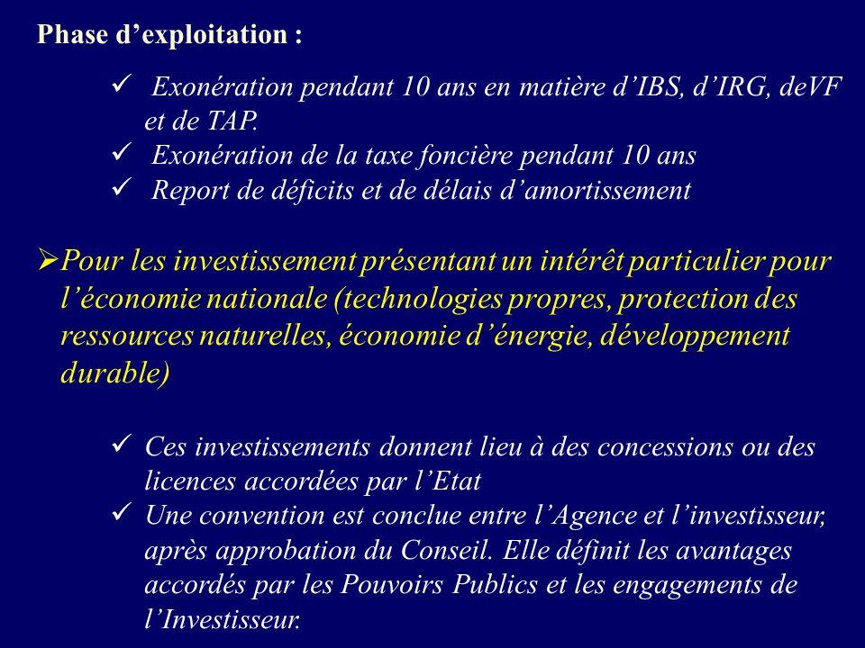 Phase dexploitation : Exonération pendant 10 ans en matière dIBS, dIRG, deVF et de TAP.
