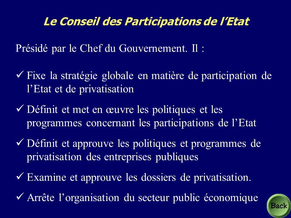 Le Conseil des Participations de lEtat Présidé par le Chef du Gouvernement.