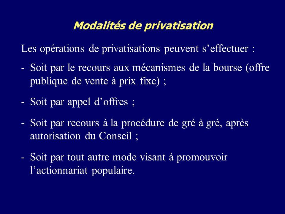 Modalités de privatisation Les opérations de privatisations peuvent seffectuer : -Soit par le recours aux mécanismes de la bourse (offre publique de vente à prix fixe) ; -Soit par appel doffres ; -Soit par recours à la procédure de gré à gré, après autorisation du Conseil ; -Soit par tout autre mode visant à promouvoir lactionnariat populaire.