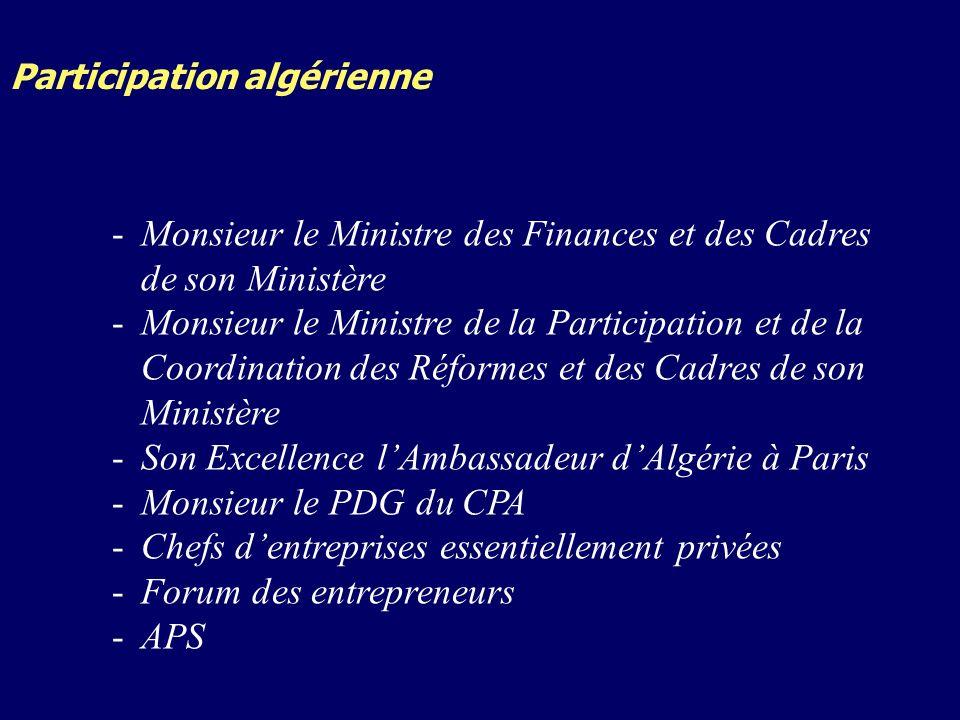 Participation algérienne -Monsieur le Ministre des Finances et des Cadres de son Ministère -Monsieur le Ministre de la Participation et de la Coordination des Réformes et des Cadres de son Ministère -Son Excellence lAmbassadeur dAlgérie à Paris -Monsieur le PDG du CPA -Chefs dentreprises essentiellement privées -Forum des entrepreneurs -APS