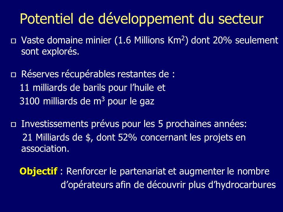 Potentiel de développement du secteur Vaste domaine minier (1.6 Millions Km 2 ) dont 20% seulement sont explorés.