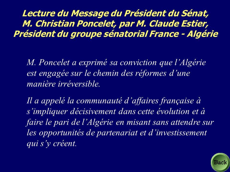 Lecture du Message du Président du Sénat, M. Christian Poncelet, par M.
