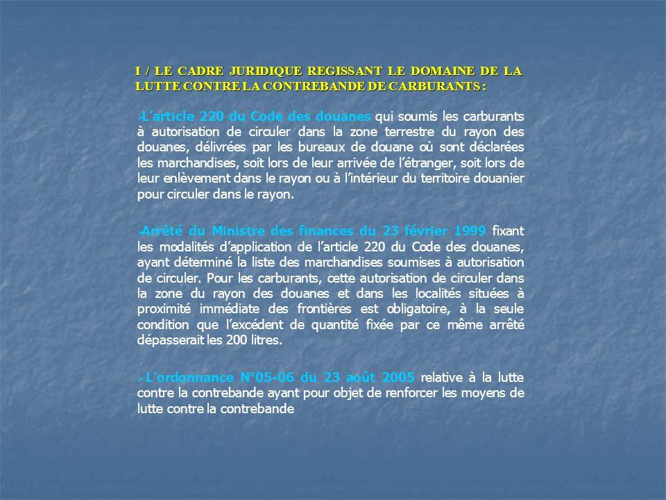 I / LE CADRE JURIDIQUE REGISSANT LE DOMAINE DE LA LUTTE CONTRE LA CONTREBANDE DE CARBURANTS : Larticle 220 du Code des douanes qui soumis les carburan