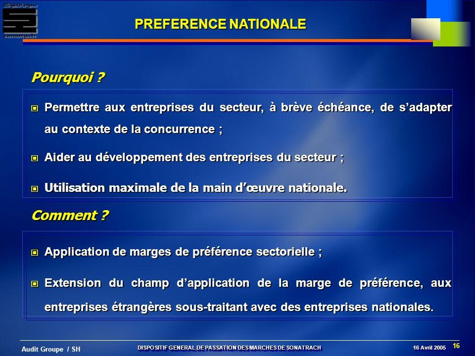 16 Audit Groupe / SH PREFERENCE NATIONALE Application de marges de préférence sectorielle ; Application de marges de préférence sectorielle ; Extensio