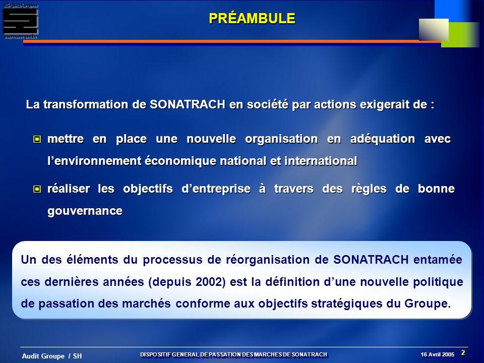2 Audit Groupe / SH PRÉAMBULE La transformation de SONATRACH en société par actions exigerait de : mettre en place une nouvelle organisation en adéqua