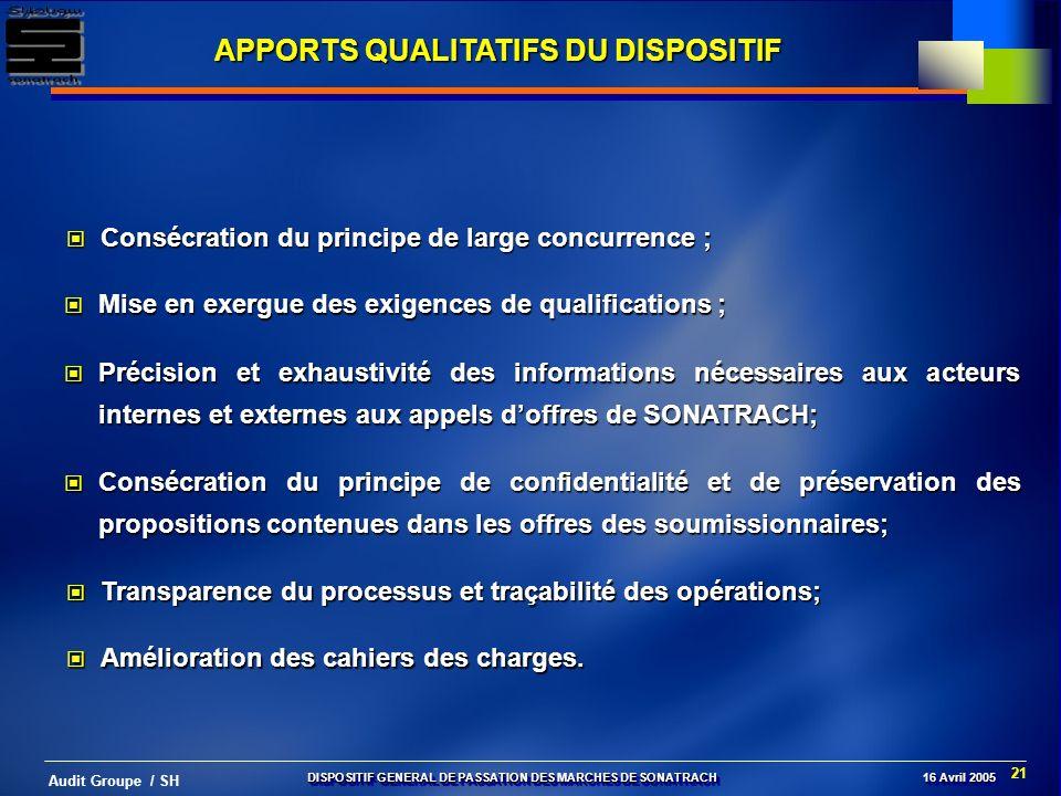 21 Audit Groupe / SH APPORTS QUALITATIFS DU DISPOSITIF Mise en exergue des exigences de qualifications ; Mise en exergue des exigences de qualificatio