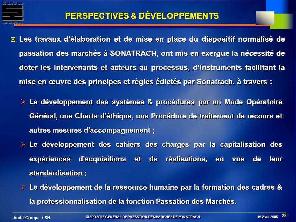 23 Audit Groupe / SH Le développement des systèmes & procédures par un Mode Opératoire Général, une Charte déthique, une Procédure de traitement de re