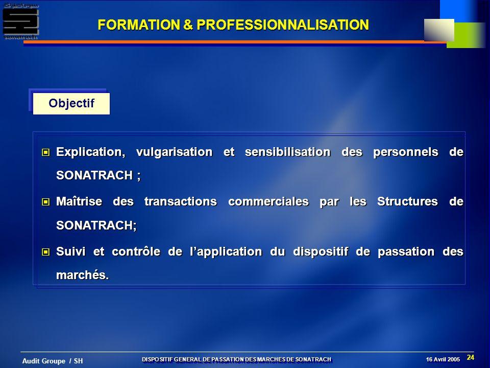 24 Audit Groupe / SH FORMATION & PROFESSIONNALISATION Objectif Explication, vulgarisation et sensibilisation des personnels de SONATRACH ; Explication