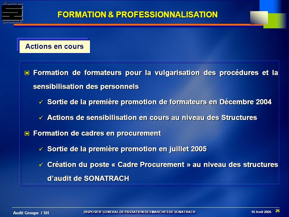 26 Audit Groupe / SH Actions en cours Formation de formateurs pour la vulgarisation des procédures et la sensibilisation des personnels Formation de f