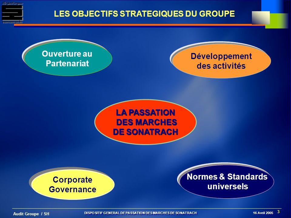 3 Audit Groupe / SH Corporate Governance Corporate Governance Ouverture au Partenariat Développement des activités Normes & Standards universels LES O