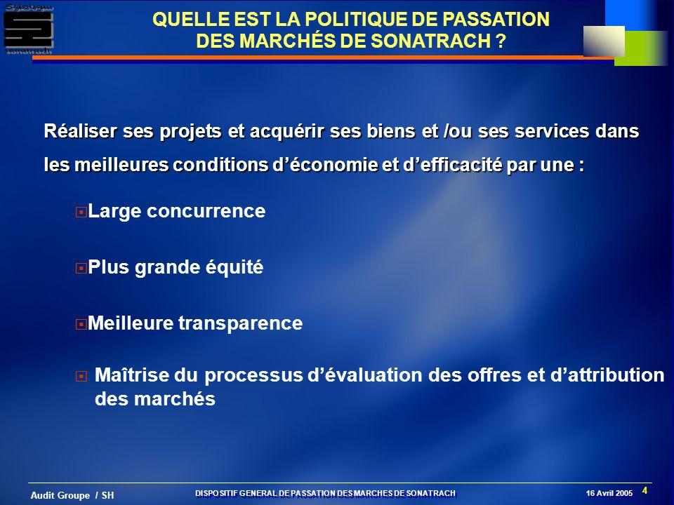 4 Audit Groupe / SH QUELLE EST LA POLITIQUE DE PASSATION DES MARCHÉS DE SONATRACH ? Réaliser ses projets et acquérir ses biens et /ou ses services dan