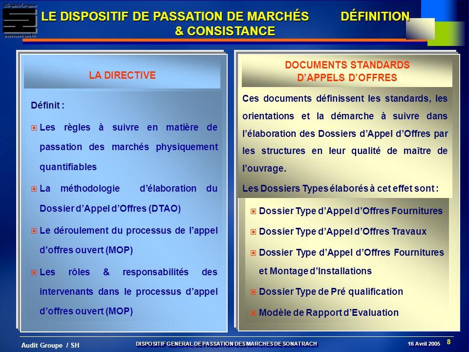 8 Audit Groupe / SH LE DISPOSITIF DE PASSATION DE MARCHÉS DÉFINITION & CONSISTANCE Définit : Les règles à suivre en matière de passation des marchés p