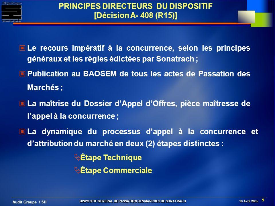9 Audit Groupe / SH PRINCIPES DIRECTEURS DU DISPOSITIF [Décision A- 408 (R15)] Le recours impératif à la concurrence, selon les principes généraux et