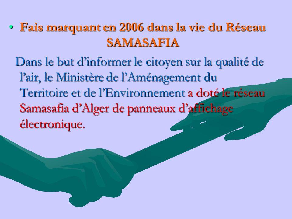 Fais marquant en 2006 dans la vie du Réseau SAMASAFIAFais marquant en 2006 dans la vie du Réseau SAMASAFIA Dans le but dinformer le citoyen sur la qua