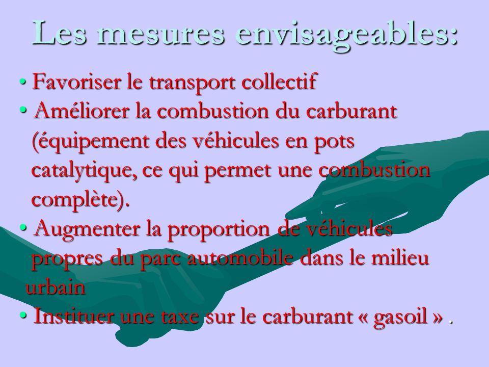 Les mesures envisageables: Favoriser le transport collectif Favoriser le transport collectif Améliorer la combustion du carburant Améliorer la combust