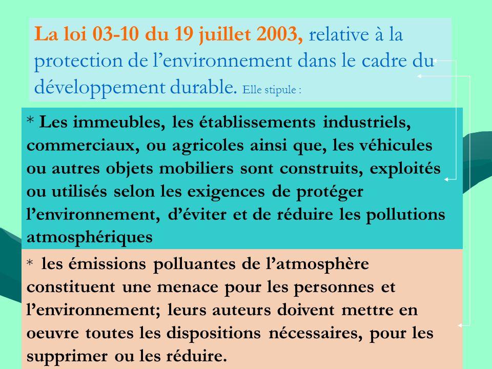 La loi 03-10 du 19 juillet 2003, relative à la protection de lenvironnement dans le cadre du développement durable. Elle stipule : * Les immeubles, le