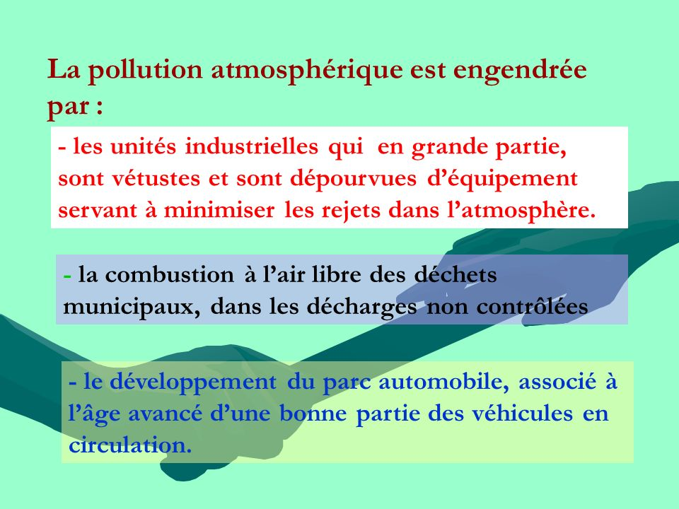 La pollution atmosphérique est engendrée par : - les unités industrielles qui en grande partie, sont vétustes et sont dépourvues déquipement servant à