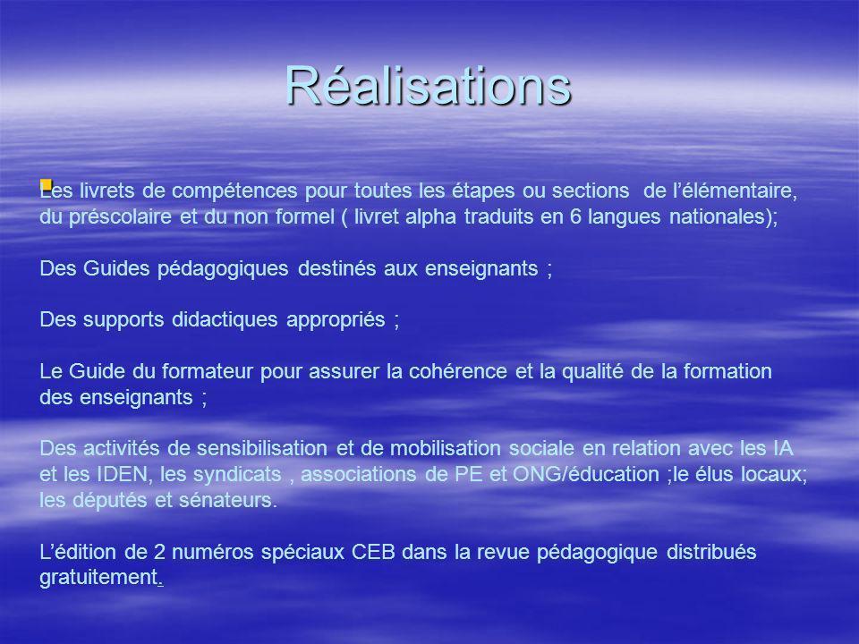 réalisations (suite) La formation de base de plus de 8 000 acteurs terrain (inspecteurs, Responsables Régionaux de lAlphabétisation, Responsables Départementaux de lAlphabétisation, directeurs décole et enseignants) et des cadres des structures centrales (DEE, INEADE, PDRE, D.EXC, DEPS, DRH et ANCTP) La formation de base de plus de 8 000 acteurs terrain (inspecteurs, Responsables Régionaux de lAlphabétisation, Responsables Départementaux de lAlphabétisation, directeurs décole et enseignants) et des cadres des structures centrales (DEE, INEADE, PDRE, D.EXC, DEPS, DRH et ANCTP) Lédition et la mise à disposition de1 0120 000 outils aux encadreurs, enseignants et élèves ; Lédition et la mise à disposition de1 0120 000 outils aux encadreurs, enseignants et élèves ; La mise en œuvre effective de la réforme dans 360.classes de MAE et 5435 classes dextension ou de renforcement et 1386 sections de généralisation ( préscolaire) La mise en œuvre effective de la réforme dans 360.classes de MAE et 5435 classes dextension ou de renforcement et 1386 sections de généralisation ( préscolaire) Pour lEnseignement moyen les travaux initiés ont permis didentifier: Pour lEnseignement moyen les travaux initiés ont permis didentifier: Le profil de sortie de lapprenant les disciplines à développer pour sa réalisation