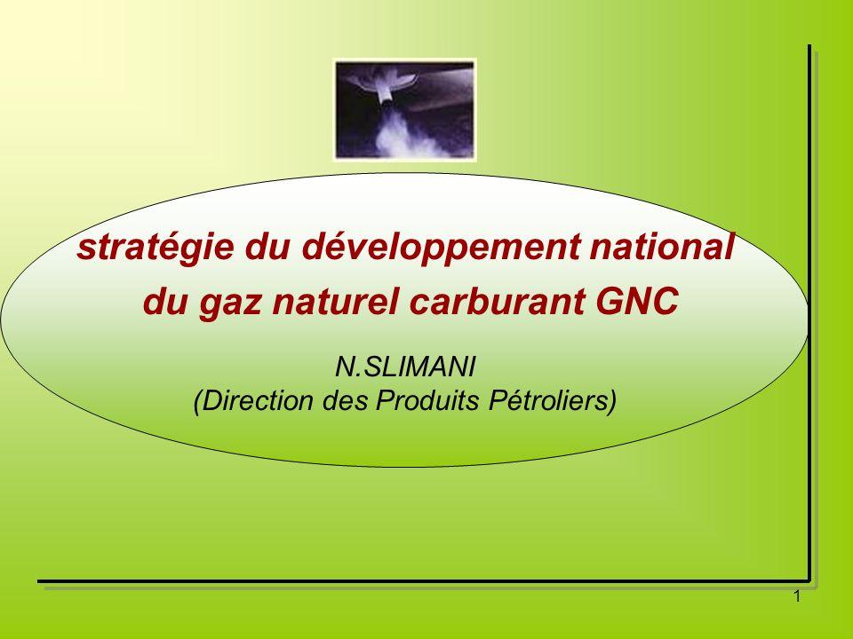 1 stratégie du développement national du gaz naturel carburant GNC N.SLIMANI (Direction des Produits Pétroliers)