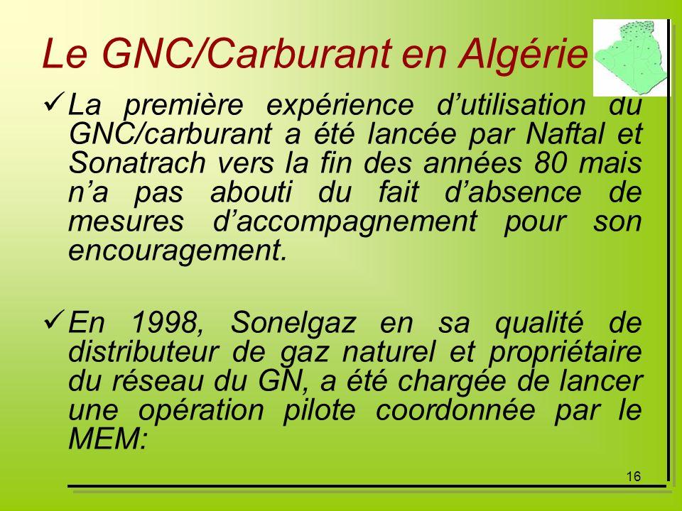 16 Le GNC/Carburant en Algérie La première expérience dutilisation du GNC/carburant a été lancée par Naftal et Sonatrach vers la fin des années 80 mai