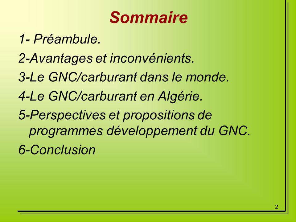 2 Sommaire 1- Préambule. 2-Avantages et inconvénients. 3-Le GNC/carburant dans le monde. 4-Le GNC/carburant en Algérie. 5-Perspectives et propositions