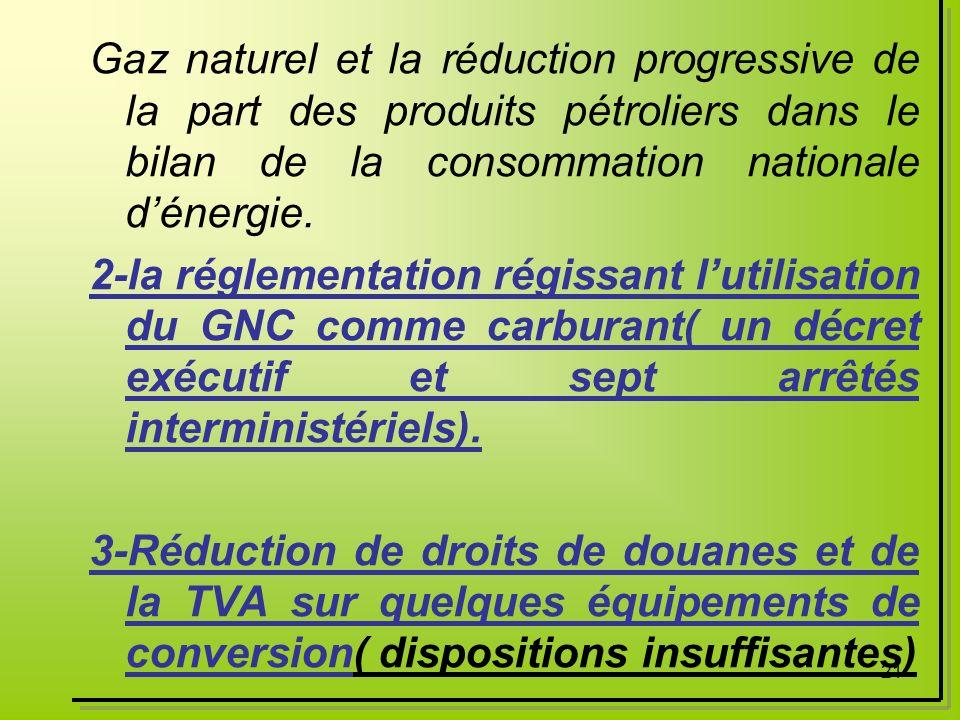 21 Gaz naturel et la réduction progressive de la part des produits pétroliers dans le bilan de la consommation nationale dénergie. 2-la réglementation
