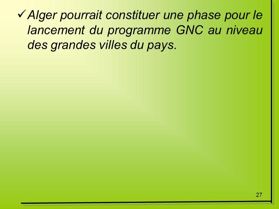 27 Alger pourrait constituer une phase pour le lancement du programme GNC au niveau des grandes villes du pays.