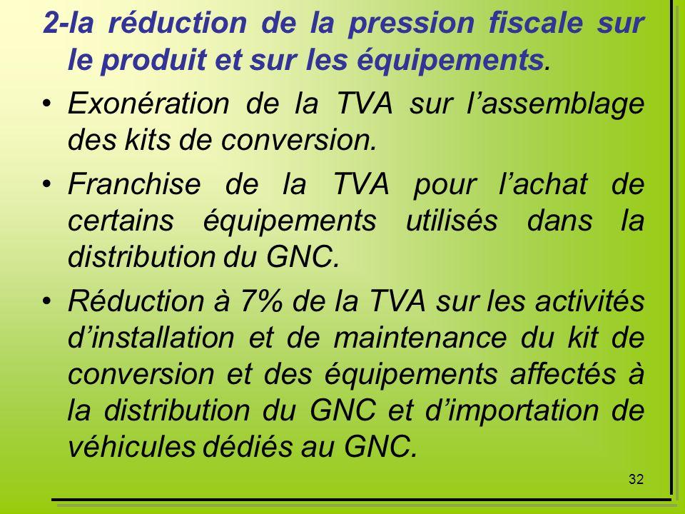 32 2-la réduction de la pression fiscale sur le produit et sur les équipements. Exonération de la TVA sur lassemblage des kits de conversion. Franchis