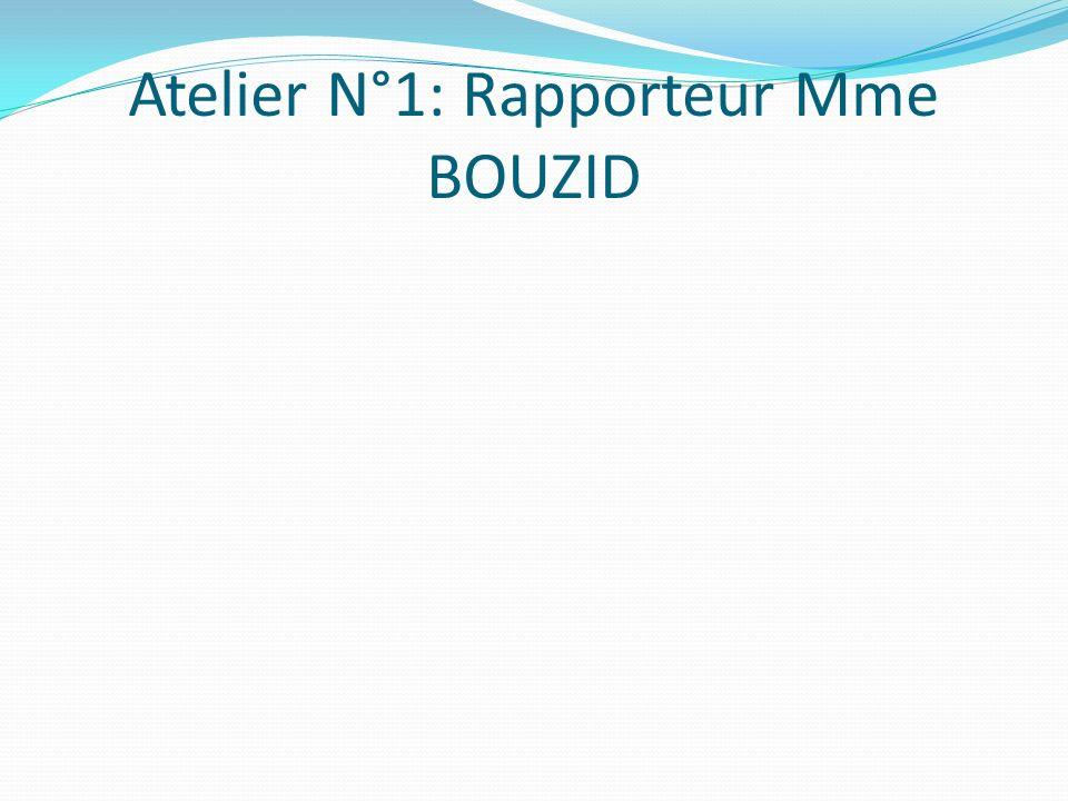 Atelier N°1: Rapporteur Mme BOUZID