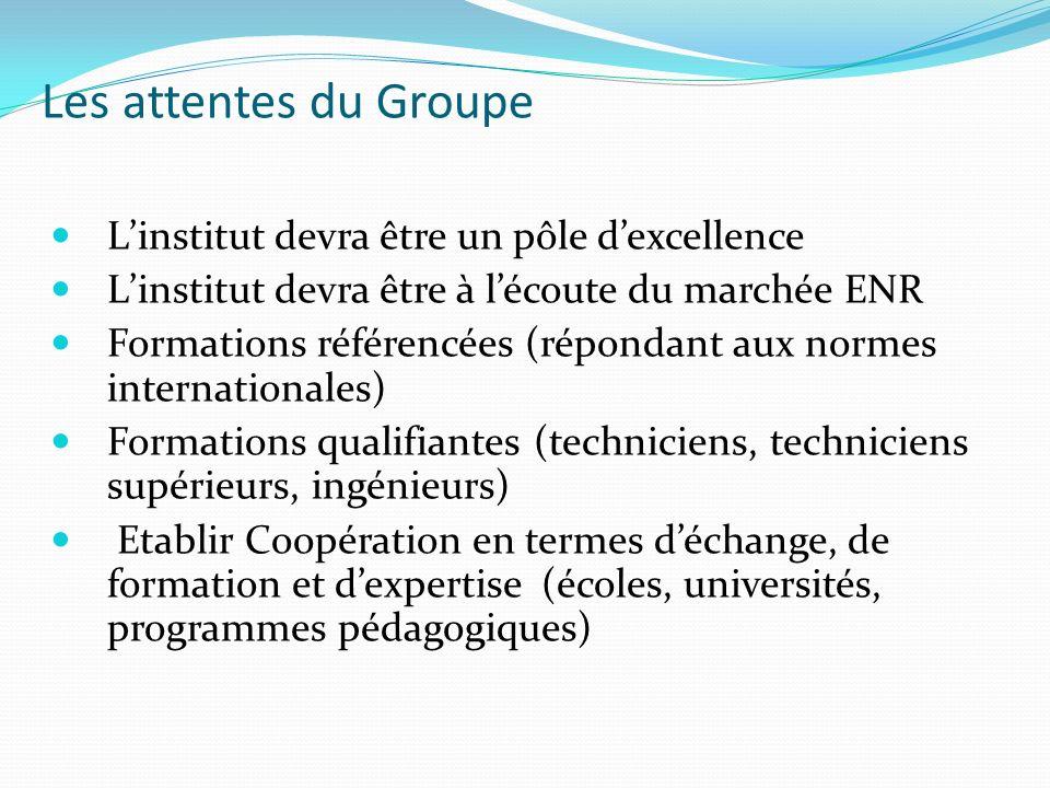 Linstitut devra être un pôle dexcellence Linstitut devra être à lécoute du marchée ENR Formations référencées (répondant aux normes internationales) F