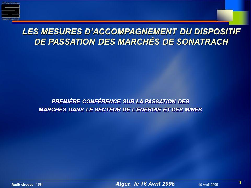 12 Audit Groupe / SH 16 Avril 2005 LA CHARTE DÉTHIQUE Pourquoi .
