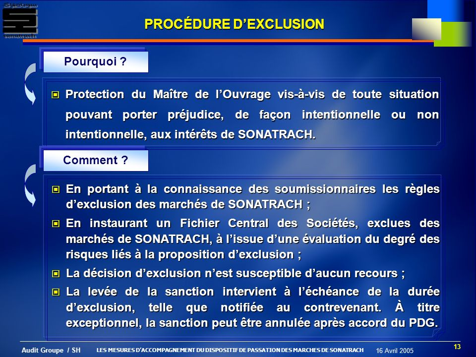13 Audit Groupe / SH 16 Avril 2005 PROCÉDURE DEXCLUSION Pourquoi .