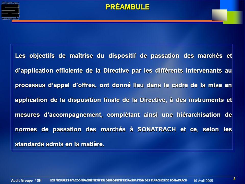 13 Audit Groupe / SH 16 Avril 2005 PROCÉDURE DEXCLUSION Pourquoi .