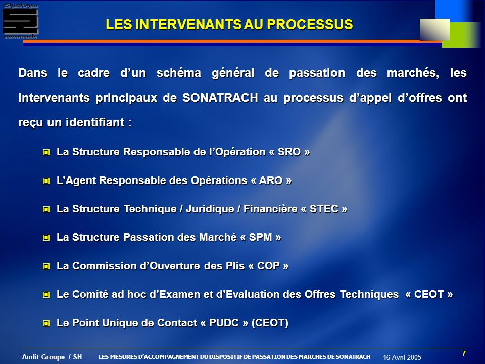 8 Audit Groupe / SH 16 Avril 2005 LA DYNAMIQUE DU PROCESSUS INTERVENANTSINTERVENANTSINTERVENANTSINTERVENANTS Actions (105) & Responsabilités (domaines et limites) MODE OPÉRATOIRE ConcurrenceÉquitéTransparence Économie & Efficacité OBJECTIFS DynamiqueDynamique LES MESURES DACCOMPAGNEMENT DU DISPOSITIF DE PASSATION DES MARCHES DE SONATRACH