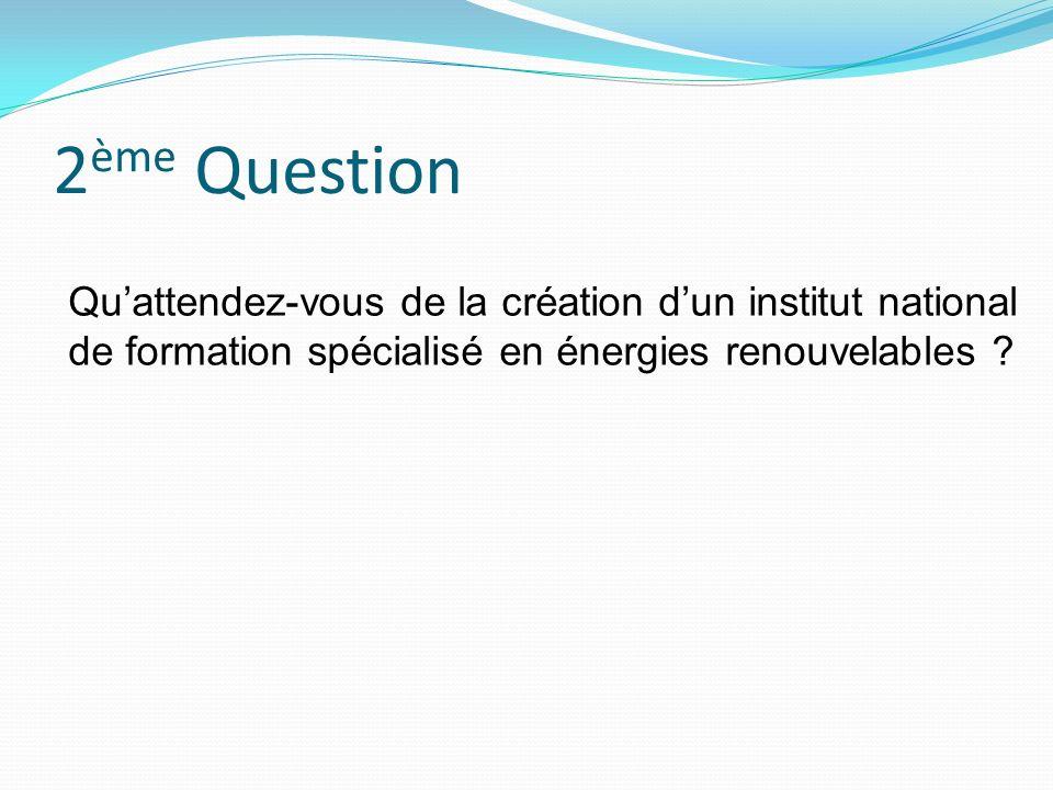 2 ème Question Quattendez-vous de la création dun institut national de formation spécialisé en énergies renouvelables