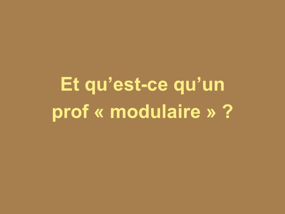 Et quest-ce quun prof « modulaire » ?
