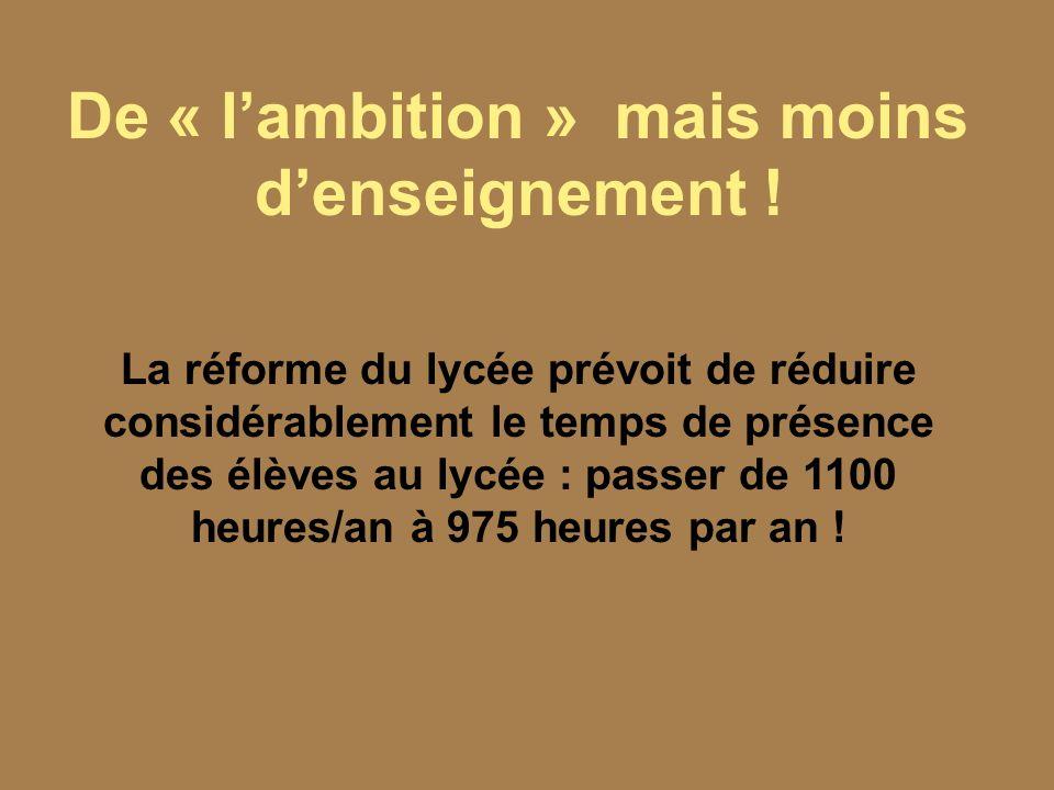 Réformer vite : pas de concertation, moins de contestation La réforme doit être appliquée dès septembre 2009, du fait de la volonté de Sarkozy de supprimer rapidement des postes et quelle soit achevée en 2012, fin de son mandat.