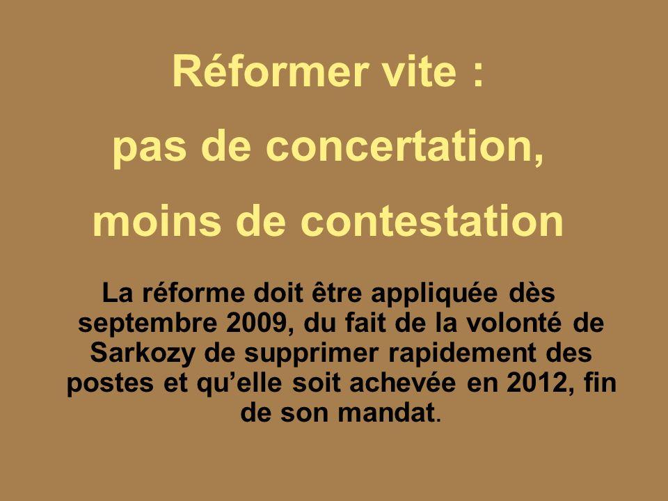 Réformer vite : pas de concertation, moins de contestation La réforme doit être appliquée dès septembre 2009, du fait de la volonté de Sarkozy de supp