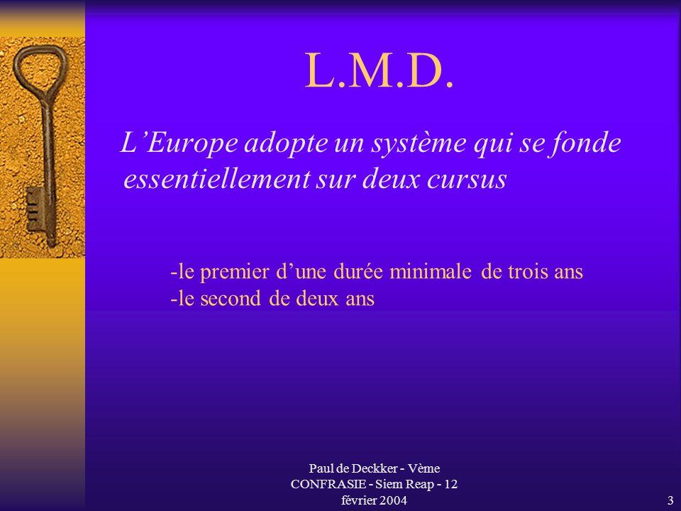 Paul de Deckker - Vème CONFRASIE - Siem Reap - 12 février 20044 L.M.D.