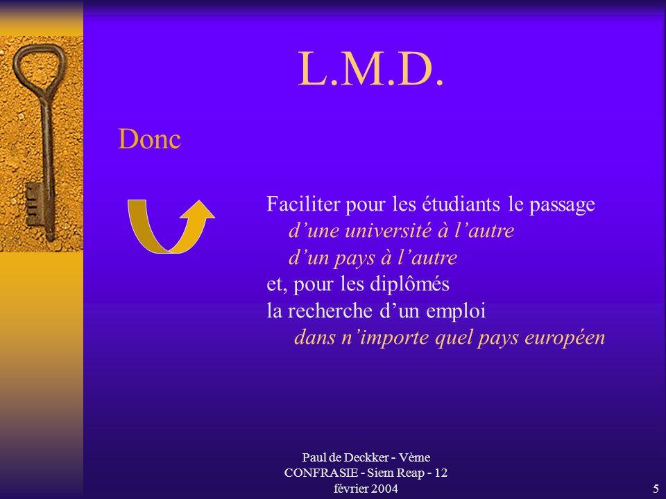 Paul de Deckker - Vème CONFRASIE - Siem Reap - 12 février 20046 L.M.D.