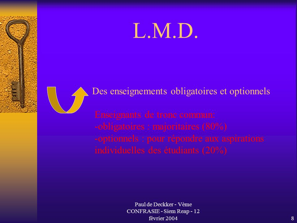 Paul de Deckker - Vème CONFRASIE - Siem Reap - 12 février 20048 L.M.D.